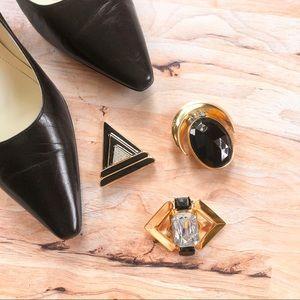 Jewelry - Art Deco Trio Black Gold & Faux Diamond Brooches